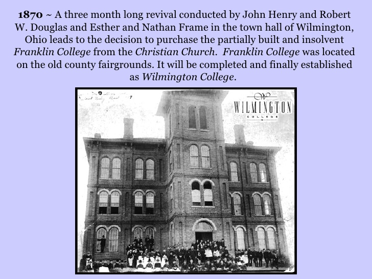 August 17th, 1870- Franklin College Purchased By the Friends